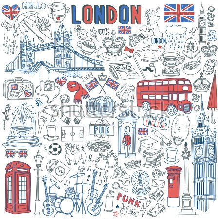 stock vector london doodle set landmarks architecture and traditional symbols of english culture big ben 642572968